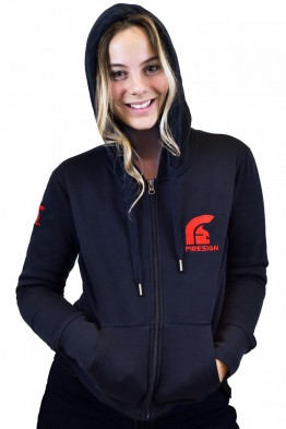 """REGENT"" - Black Hoodie for Woman with Zip and Red Embroidered Logos"