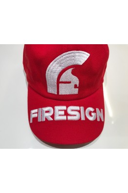 """HELM""  - Red Baseball Cap with Embroidered Front Logo and ""FIRESIGN"" on the Visor"