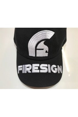 """HELM"" - Black Baseball Cap with Embroidered Front Logo and ""FIRESIGN"" on the Visor"