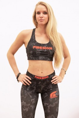 """JEWEL"" - Carbon Black Camouflage Lycra Bra"