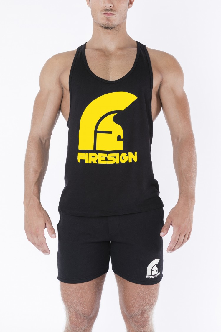 """LEGIONARY"" - Black Racer Cut Tank Top with Yellow Logo Print"