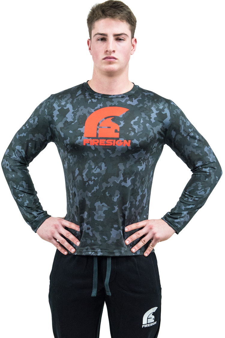 """PRAETORIAN 2.0"" -  Carbon Black Camouflage Compression Shirt with Long Sleeves"