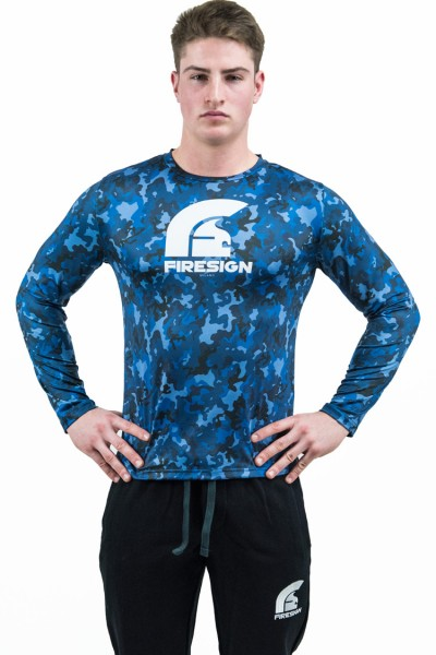 """PRAETORIAN 2.0"" -  Pacific Blue Camouflage Compression Shirt with Long Sleeves"