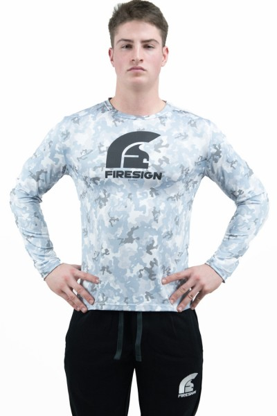 """PRAETORIAN 2.0"" -  Arctic White Camouflage Compression Shirt with Long Sleeves"