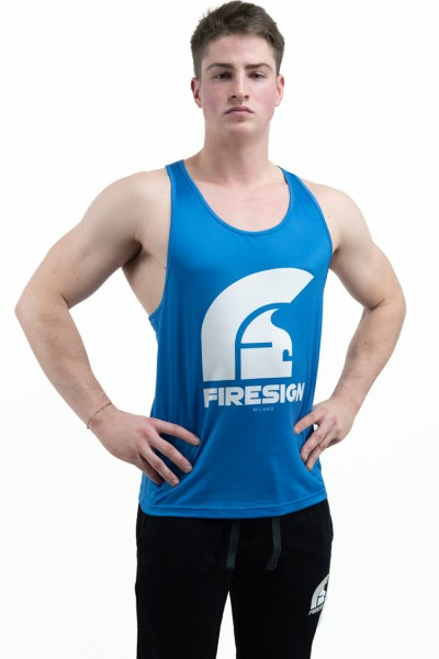 """LEGIONARY 2.0"" - Blue Racer Cut Tank Top for Man with White Logo"