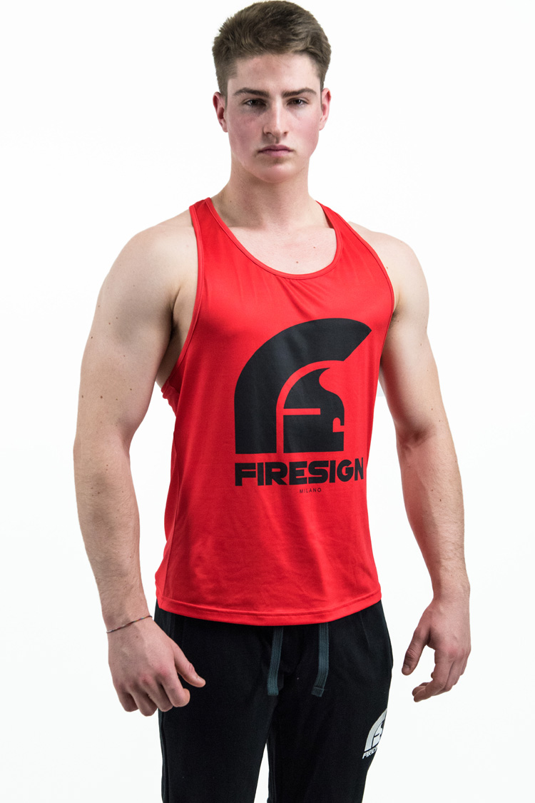 """LEGIONARY 2.0"" - Red Racer Cut Tank Top for Man with Black Logo"