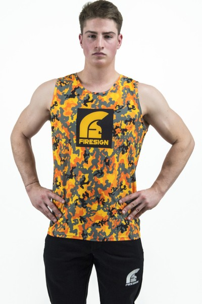 """FIRE SALAMANDER"" - Compression Orange Fluo Camouflage Tank Top for Man"