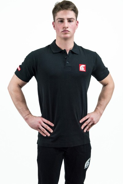 """FIREFIGHTER"" - Black Polo Shirt with Short Sleeves and Red Patch/Embroidered Logos"