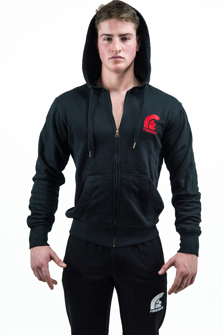 """TEMPLAR"" - Black Hoodie for Man with Zip and Red Embroidered Logos"