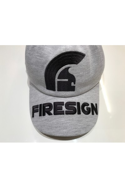 """HELM"" - Melange Grey Baseball Cap with Front Embroidered Logo and ""FIRESIGN"" on the Visor"