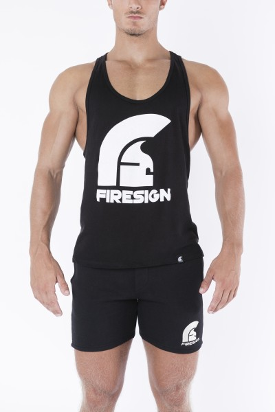 """LEGIONARY"" - Black Racer Cut Tank Top with Logo Print"