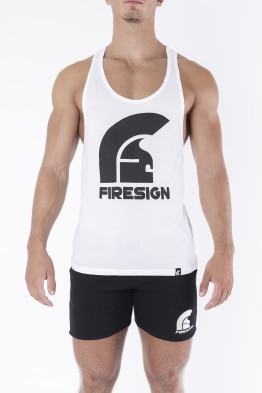 """LEGIONARY"" - White Racer Cut Tank Top with Logo Print"