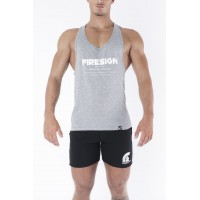 Grey Racer Cut Tank Top with Motivation Print