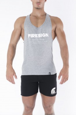 """LEGIONARY"" - Grey Racer Cut Tank Top with Motivation Print"