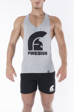 """LEGIONARY"" - Grey Racer Cut Tank Top with Logo Print"