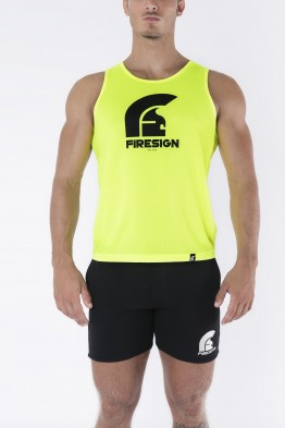 """AURUM"" - Yellow Fluo Tank Top for Man with Black Logo Print"