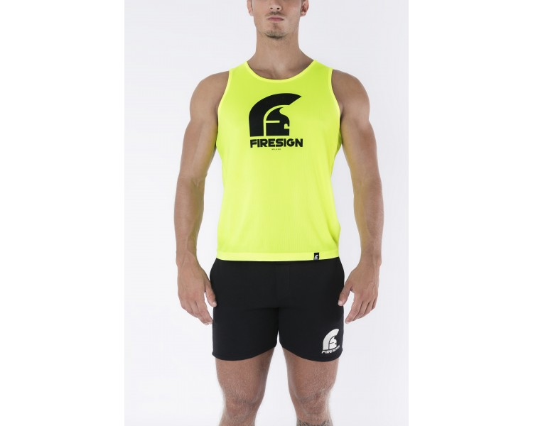 Yellow Fluo Tank Top with Logo Print