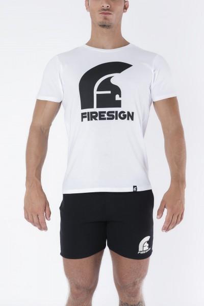 """SPQR"" - White T-Shirt with Black Logo Print"