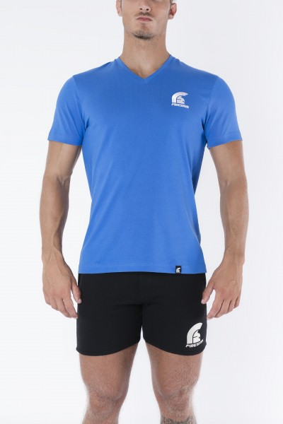 Blue V-Neck T-Shirt with Embroidered Logo