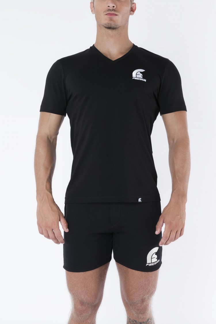 Black V-Neck T-Shirt with Embroidered Logo