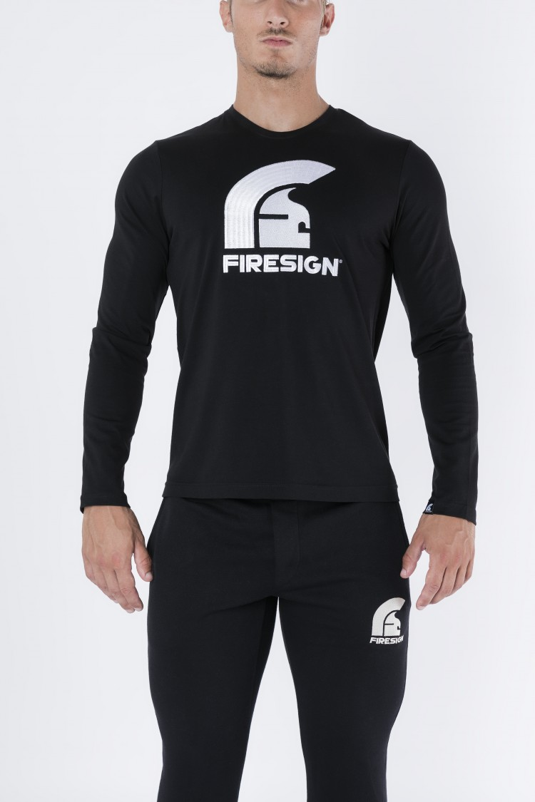 """PRETORIAN"" - Black Long Sleeve Shirt with Embroidered Logo"