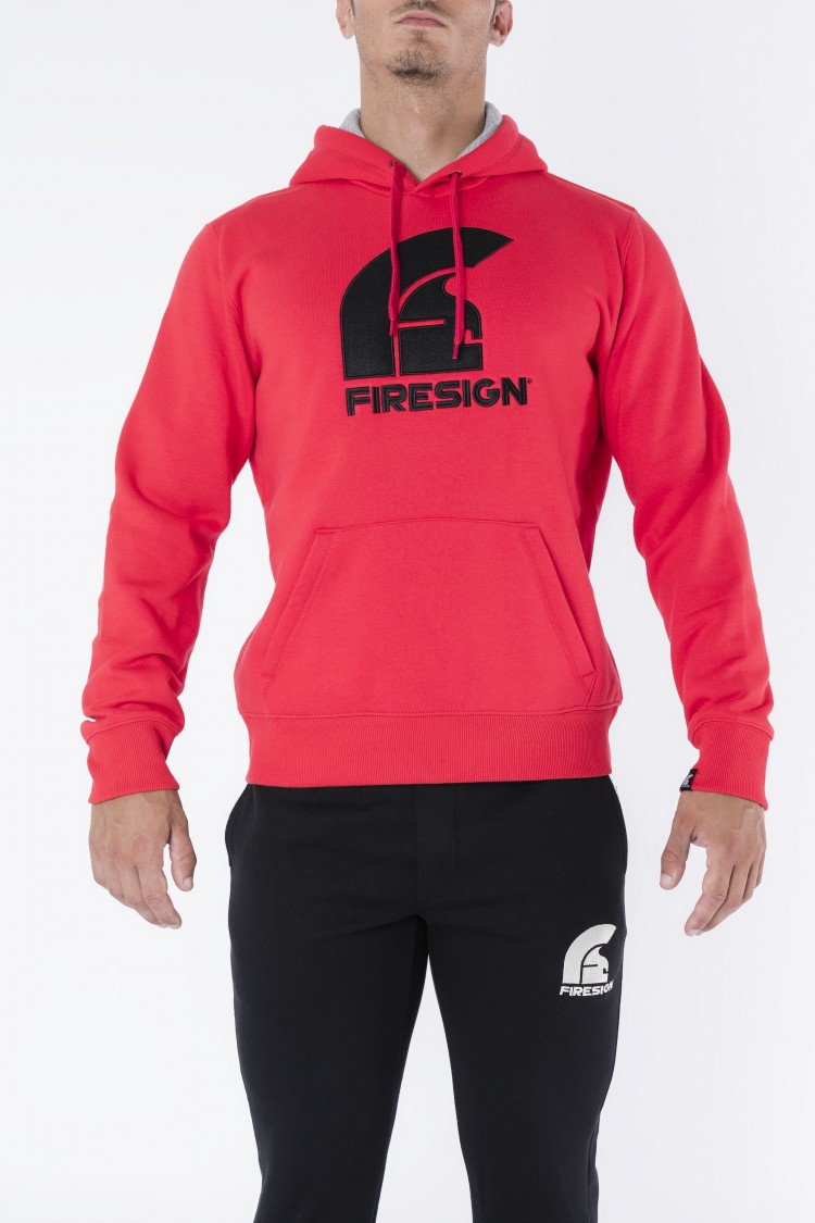"""GLADIATOR"" - Red Hoodie with Embroidered Firesign Logo"