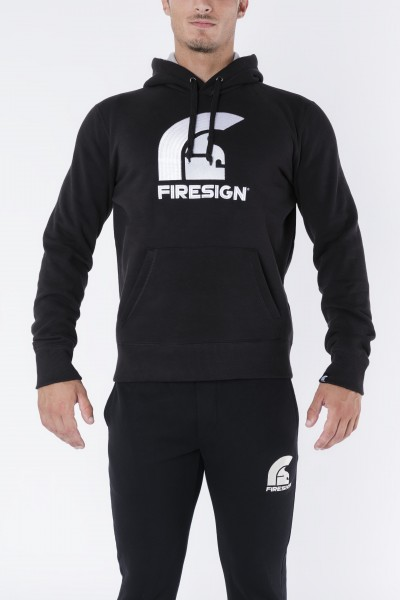 """CENTURION"" - Black Hoodie with Embroidered Firesign Logo"
