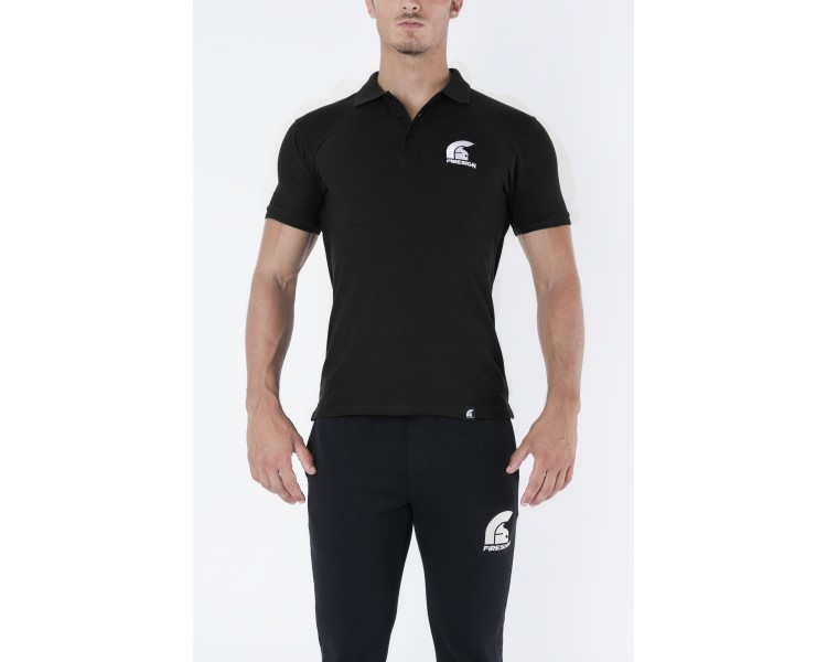 Black Polo Shirt with Embroidered Logo