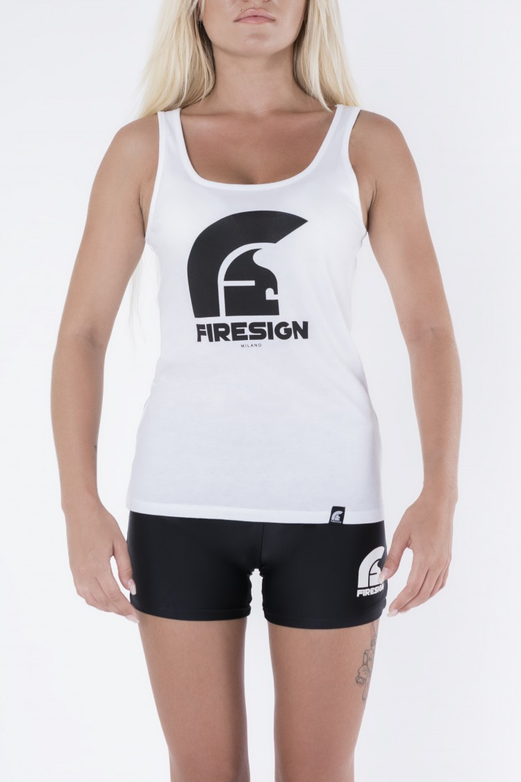 White Tank Top for Woman with Logo Print