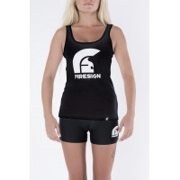 Black Tank Top for Woman with Logo Print