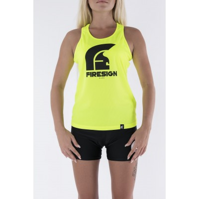 Yellow Fluo Tank Top for Woman with Logo Print