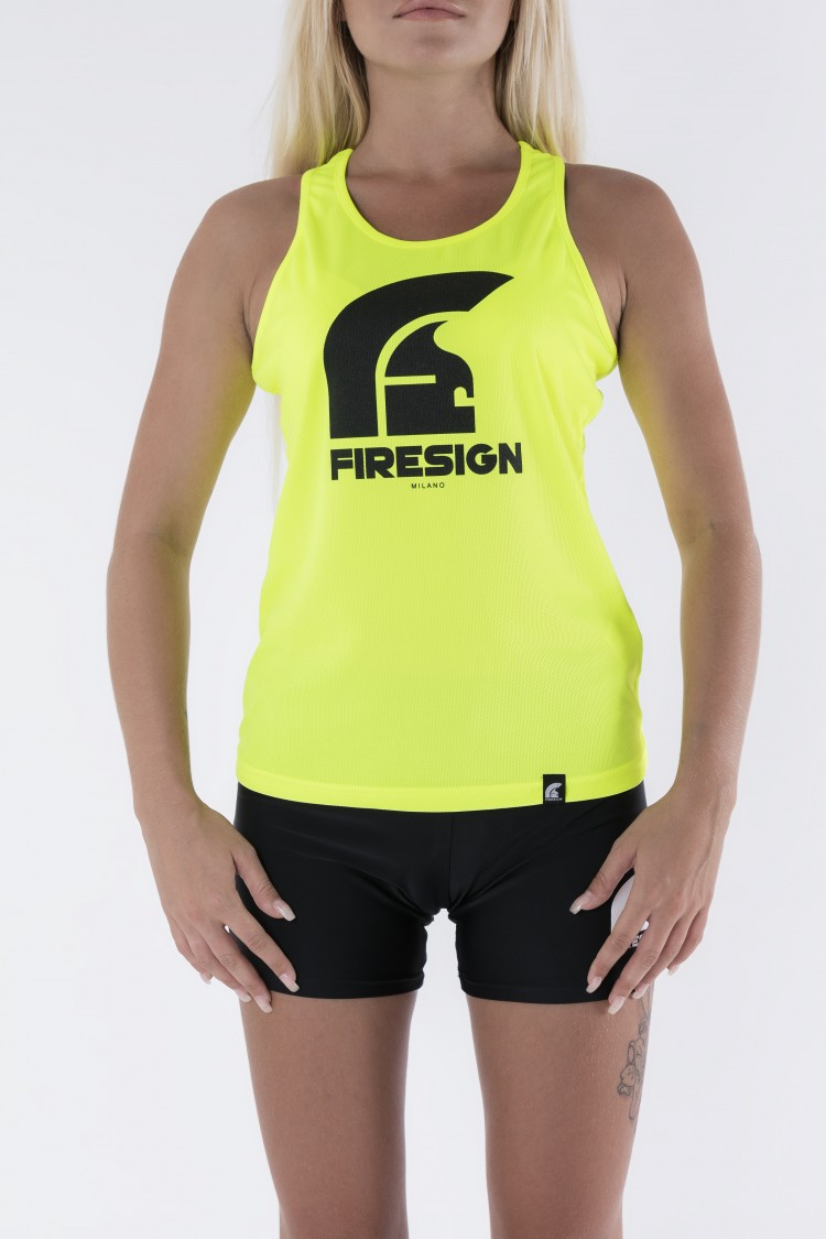 """AURUM"" - Yellow Fluo Tank Top for Woman with Black Logo Print"