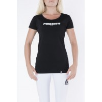 """Black Elastic T-Shirt for Woman with """"Firesign Milano"""" Print"""