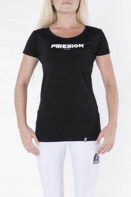 """STATUARY"" - Black Compression T-Shirt for Woman with ""Firesign Milano"" Print"