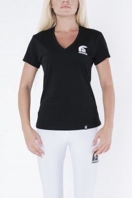 Black V-Neck T-Shirt for Woman with Embroidered Logo