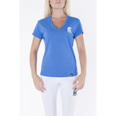 Blue V-Neck T-Shirt for Woman with Embroidered Logo