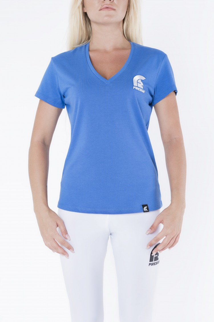 """DELPHI"" - Blue V-Neck T-Shirt for Woman with Embroidered Logo"