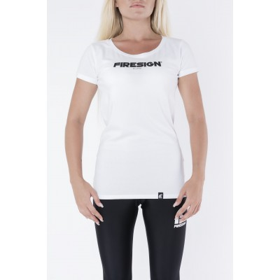 "White Elastic T-Shirt for Woman with ""Firesign Milano"" Print"