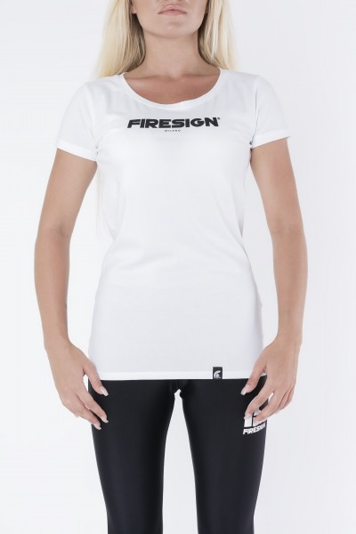 """STATUARY"" - White Compression T-Shirt for Woman with ""Firesign Milano"" Print"