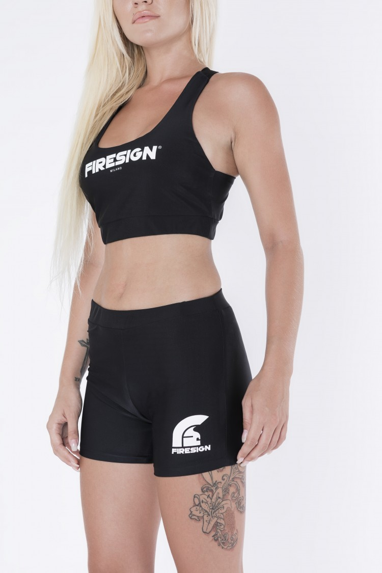 """MINI"" - Black Lycra Shorts for Woman with Printed Logo"