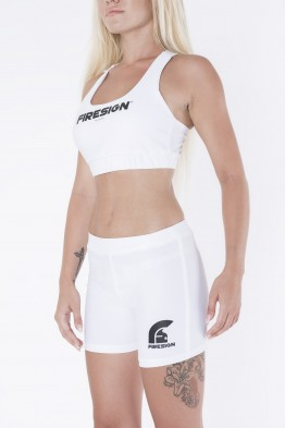 """MINI"" - White Lycra Shorts for Woman with Printed Logo"
