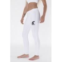 White Long Lycra Gym Pants with Printed Logo