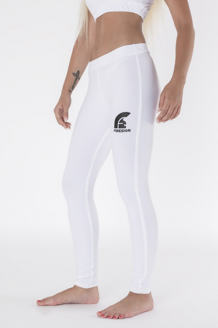White Long Lycra Gym Pants with Printed Logo