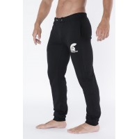 Black Long Training Pants with Embroidered Logo