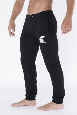 """TROOPER"" - Black Long Training Pants with Embroidered Logo"