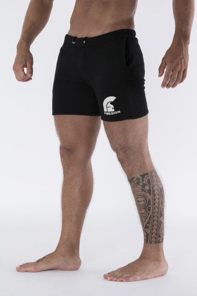 """SPARTAN"" - Black Training Shorts with Embroidered Logo"