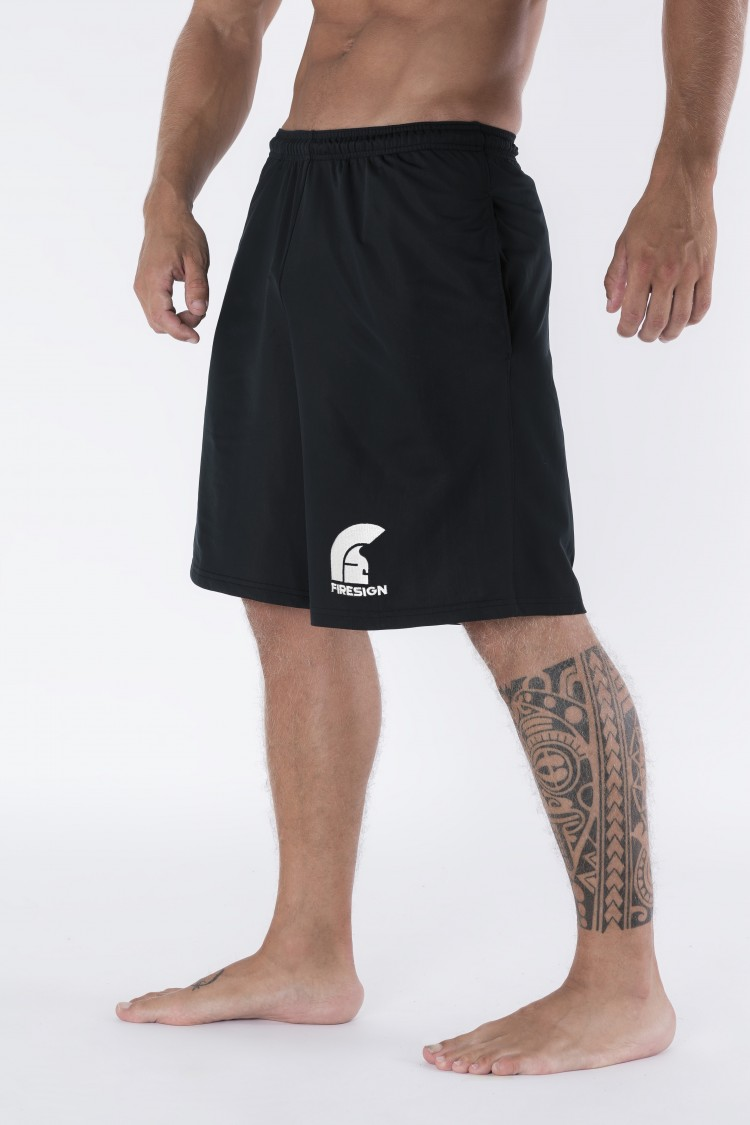 """FIGHTER"" - Black Elastic Training Shorts with Printed Firesign Logo"