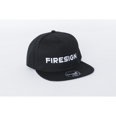 """Black Hip Hop Cap with Embroidered """"FIRESIGN"""""""
