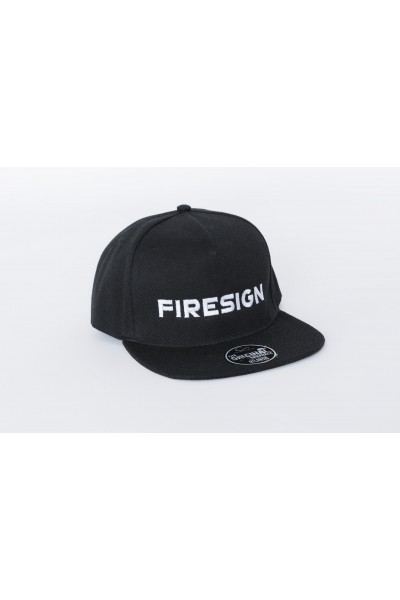 "Black Hip Hop Cap with Embroidered ""FIRESIGN"""