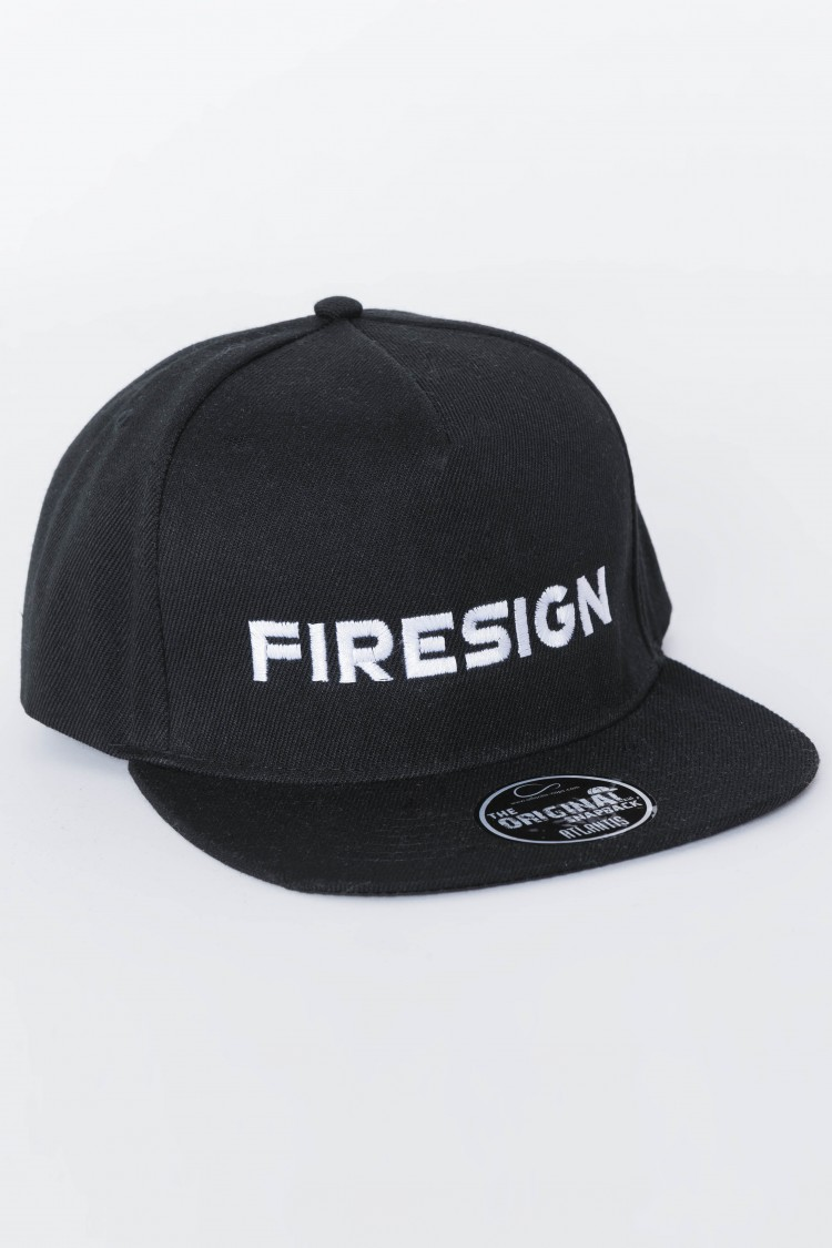 """SKATER"" - Black Hip Hop Cap with Embroidered ""FIRESIGN"""